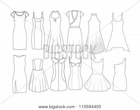 Set of Fashion Flat templates Sketches - Woman dresses - short and medium length