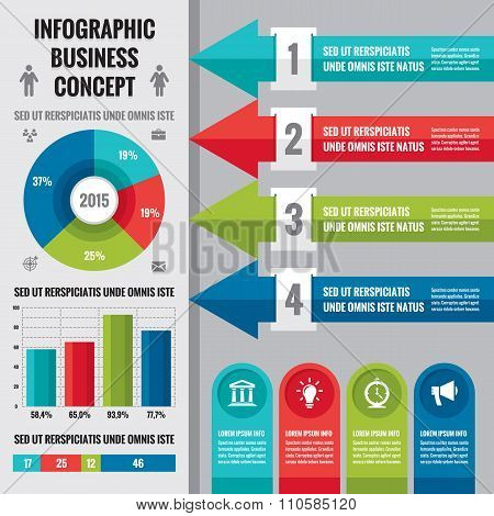 Business infographic concept layout in flat design style.