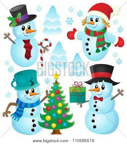 Christmas snowmen theme collection 1 - eps10 vector illustration.