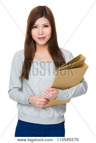 Asian Woman hold with folder