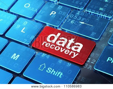 Information concept: Data Recovery on computer keyboard background
