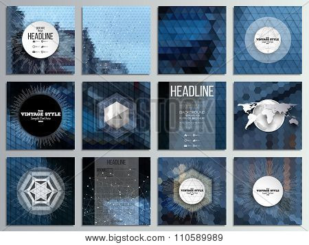 Set of 12 creative cards, square brochure template design. Night city landscape. Abstract multicolor
