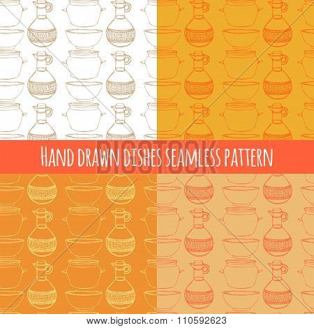 Empty Hand Drawn Cooking Dishes, Seamless Pattern