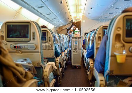 SINGAPORE - NOVEMBER 03, 2015: interior of Singapore Airlines Airbus A380. Singapore Airlines Limited is the flag carrier of Singapore which operates from its hub at Changi Airport