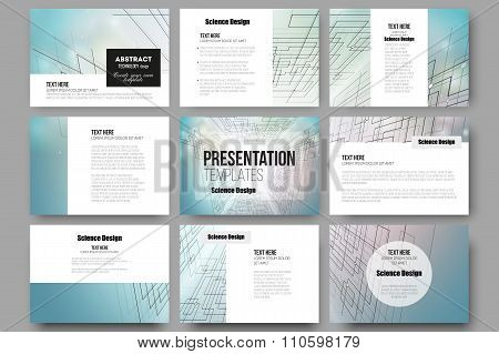 Set of 9 templates for presentation slides. Abstract vector background, digital technologies, cyber