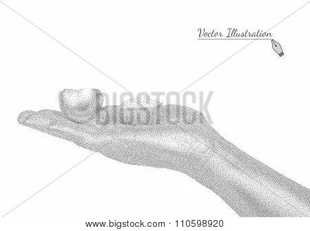 Hand holding eggshell in style black a white engraving