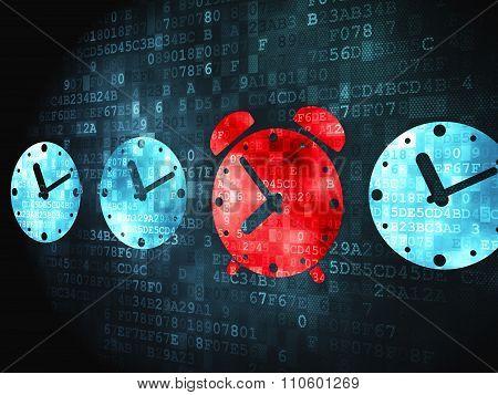Time concept: Alarm Clock on digital background