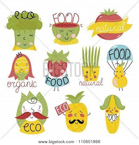 Raster eco icon. Cartoon organic icon set. Bio label set. Organic food label. Natural product icon. Food icon. Bio icon. Organic tag. Eco label set. Vegetarian restaurant menu logo. Organic icon. Ecology icon. Cartoon leaf with eco sign. Funny eco icon