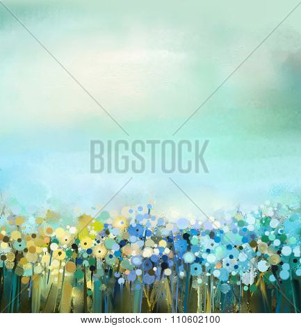 Oil Painting Of Flowers Plant. Dandelion flower in fields.