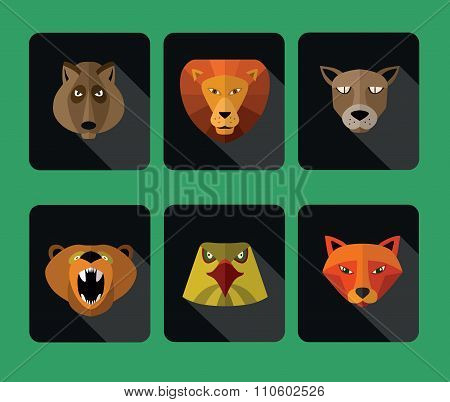 Illustration of animal predators, lion, bear and others for web or mobile application to select userpic. poster