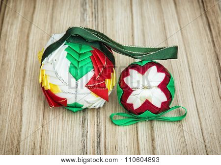 Christmas Colorful Baubles On The Wooden Background