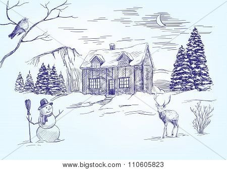 Christmas night. Christmas card hand drawn vector llustration  realistic  sketch