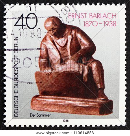 Postage Stamp Germany 1988 The Collector, Sculpture By Ernst Barlach