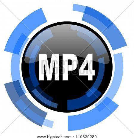 mp4 black blue glossy web icon