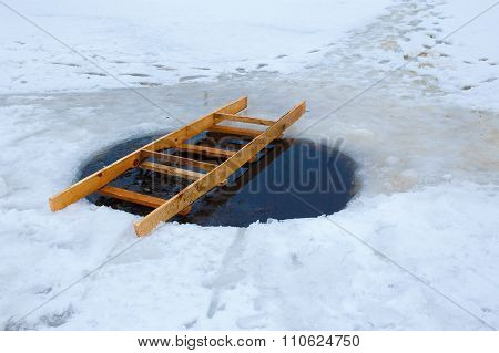 ice hole with a ladder