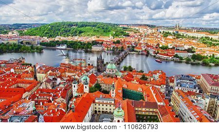 Area Lesser Town Of Prague (mala Strana), Charles Bridge, Prague Castle And Vltava River. Czech Repu