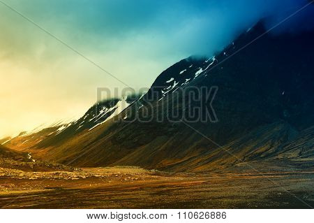 Nature Background Beautiful Landscape Mountains Road Hills Clouds Sunset  Iceland