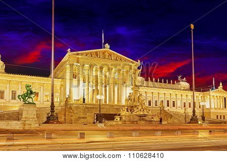 Parlament Of Austria, In Central Of Vienna. Austria.