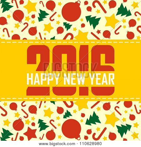 2016 Happy New Year yellow greeting card.Vector illustration.