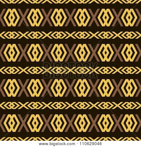Seamless pattern of elegant openwork lattice in golden and brown colors on black background. X and diamond shaped figures. Vector illustration for various creative projects poster
