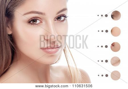 Portrait of girl woman with problem and clear skin, youth concept