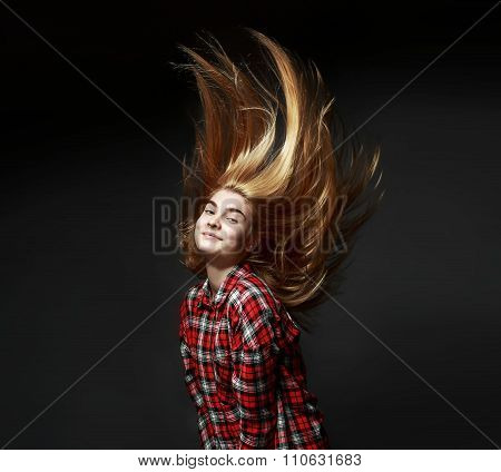 Woman long amazing hair in air