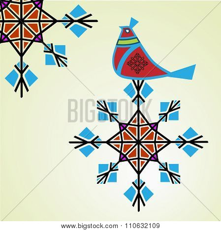 Winter partridge sitting on snowflake