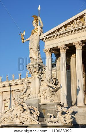 The Austrian Parliament And Statue Of Pallas Athena In Vienna, Austria