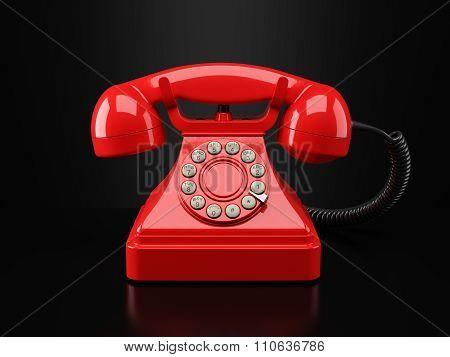 Red Vintage Phone On Black Background. Hotline Concept 3D