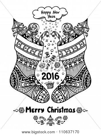 Christmas Stocks with gift package  in Zen-doodle style black on white