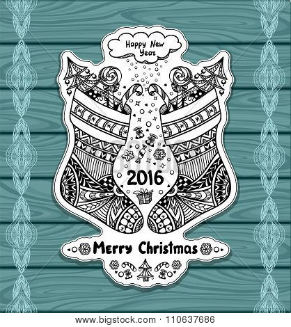 Christmas Stocks with gift package  in Zen-doodle style on blue wood