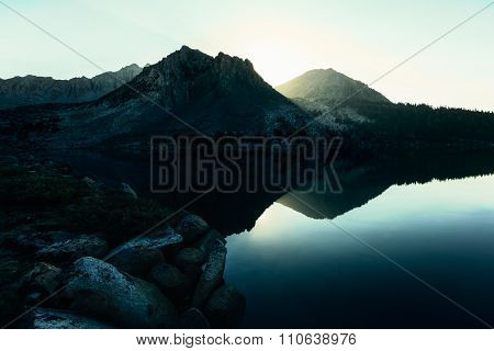 Morning Sun At Lake Virginia, California
