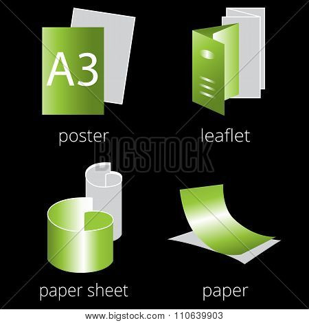 Printing shop services green icons set. Part 1