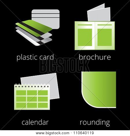 Printing shop services green icons set. Part 3