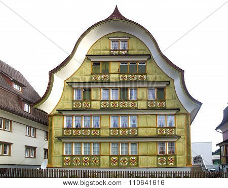 Ancient Unique Colourful House In Historic Medieval Old Town. Appenzell Is Well-known For Its Colour
