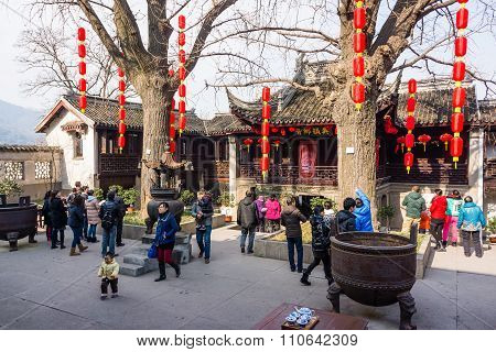 Beijing, China - February 18, 2015: People Enjoy Themselves At Ditan Park Ahead Of Chinese New Year