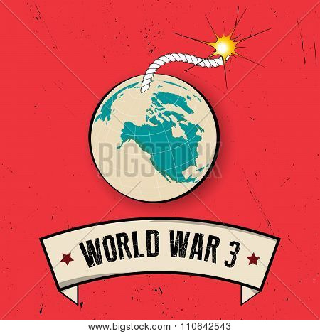 Retro World War 3 Poster On Old Background