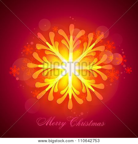 Creative shiny snowflake decorated greeting card design for Merry Christmas celebration.