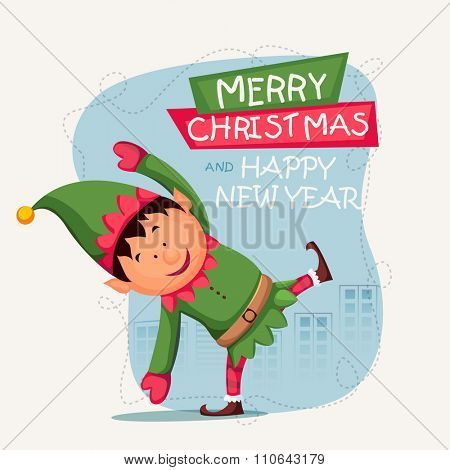 Greeting card design with illustration of cute boy playing and celebrating on occasion of Merry Christmas and Happy New Year.