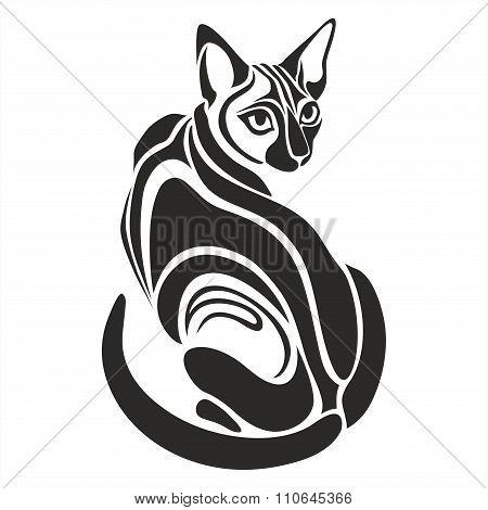 Egyptian Black cat dangerous looking tattoo drawing