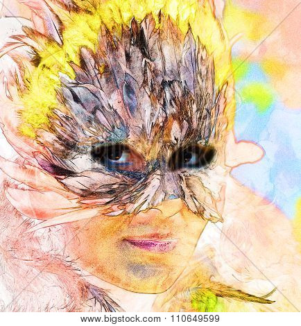 computer painting collage young indian woman wearing a feather headdress, a profile portrait on stru