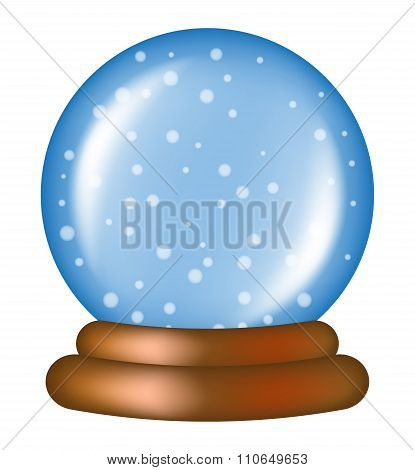 Christmas Snowglobe Cartoon Design, Icon, Symbol For Card. Winter Transparent Glass Ball With The Fa