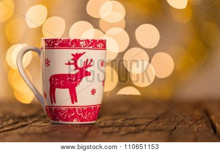 Christmas background with cup of tea