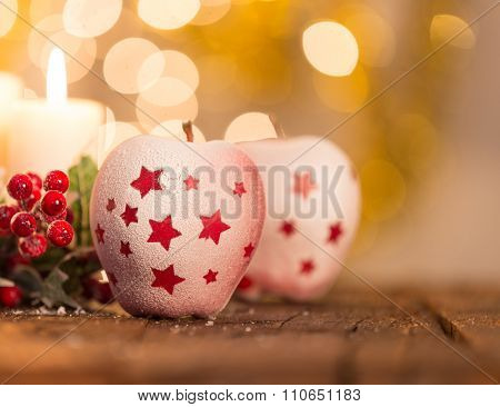 Christmas background with red apples