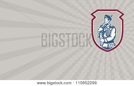 Business Card Scotsman Bagpiper Playing Bagpipes Shield
