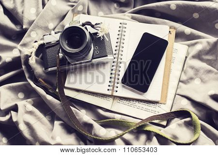 Vintage Camera With Blank Black Cell Phone And Blank Diary, Mock Up