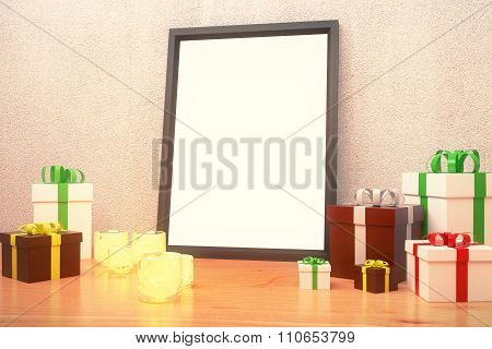Blank Picture Frame  With Gift Boxes And Glowing Candlesticks On Wooden Floor, Mock Up