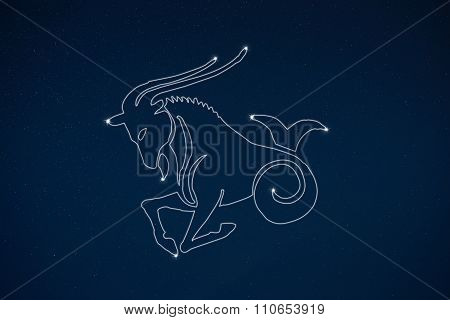 Horoscope Zodiac Sign Capricorn In Dark Sky