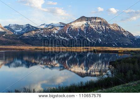 View Of The Mountains And Waterton Lake
