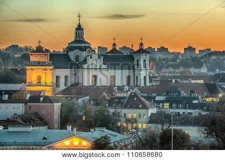 Vilnius, Lithuania: Church of Holy Spirit in the Sunset